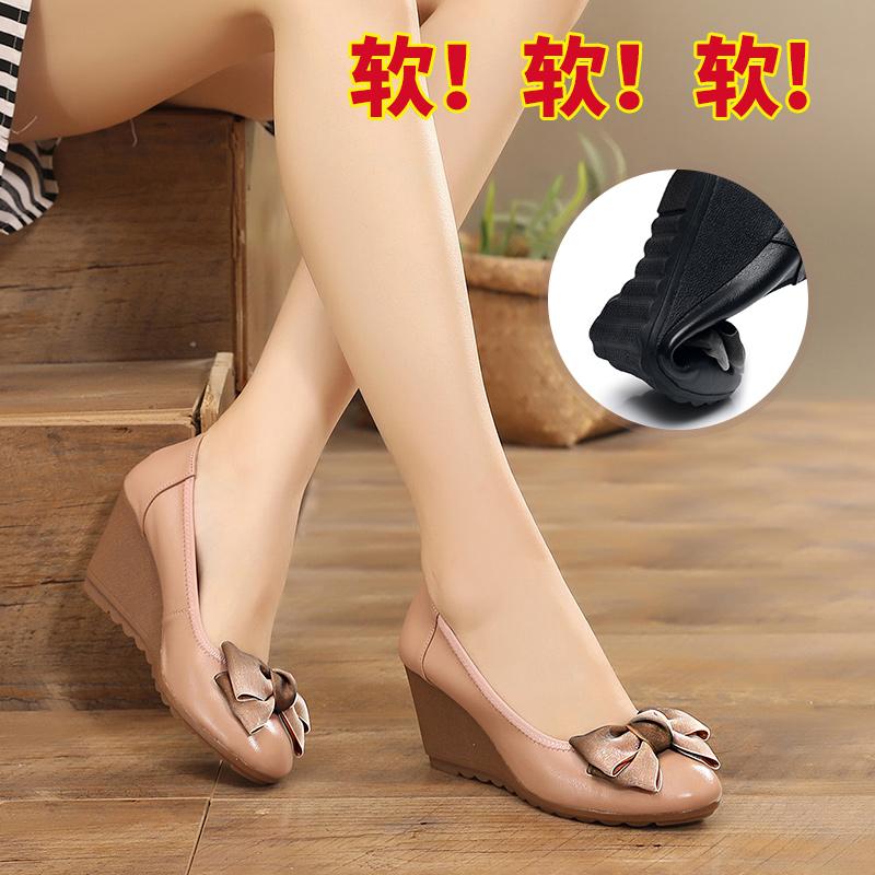 高跟鞋女单鞋真皮坡跟时尚妈妈鞋蝴蝶结防滑工作皮鞋软底增高鞋春