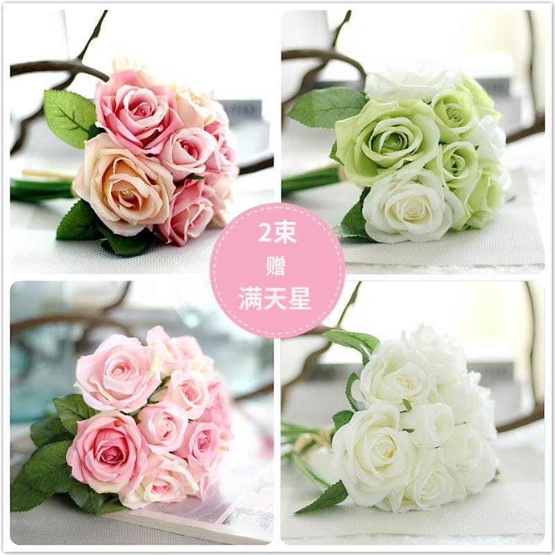 玫瑰装饰花束仿真卧室客厅田园现代落地摆放盆栽绢花假花装饰花艺