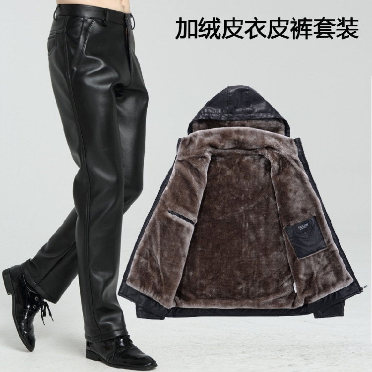 Winter hooded mens Plush thick leather pants leather suit two piece motorcycle leather jacket windproof motorcycle riding warm
