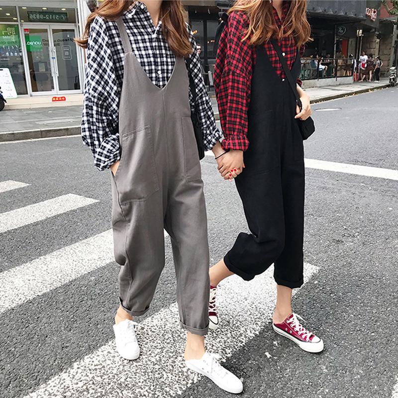 微胖大码女装新款秋装胖mm200斤背带裤两件套胖妹妹洋气减龄套装