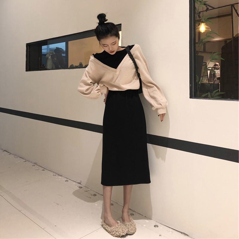 2018大码女装新款秋冬装显瘦减龄洋气微胖妹妹洋气卫衣半身裙套装