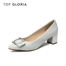 Topgloria Tompgro 2019 New Tip Leisure Single Shoes Women Shallow Boat Shoes Rough-heeled Grandma Shoes