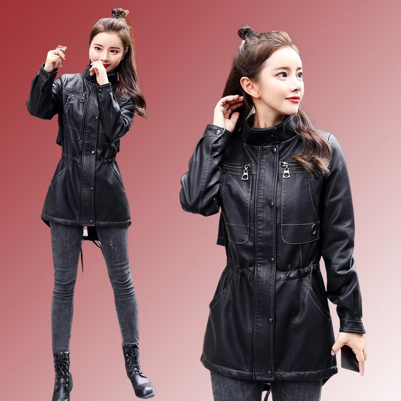 One piece autumn winter locomotive fashion leather jacket jacket collar sequined sheepskin fall 2019