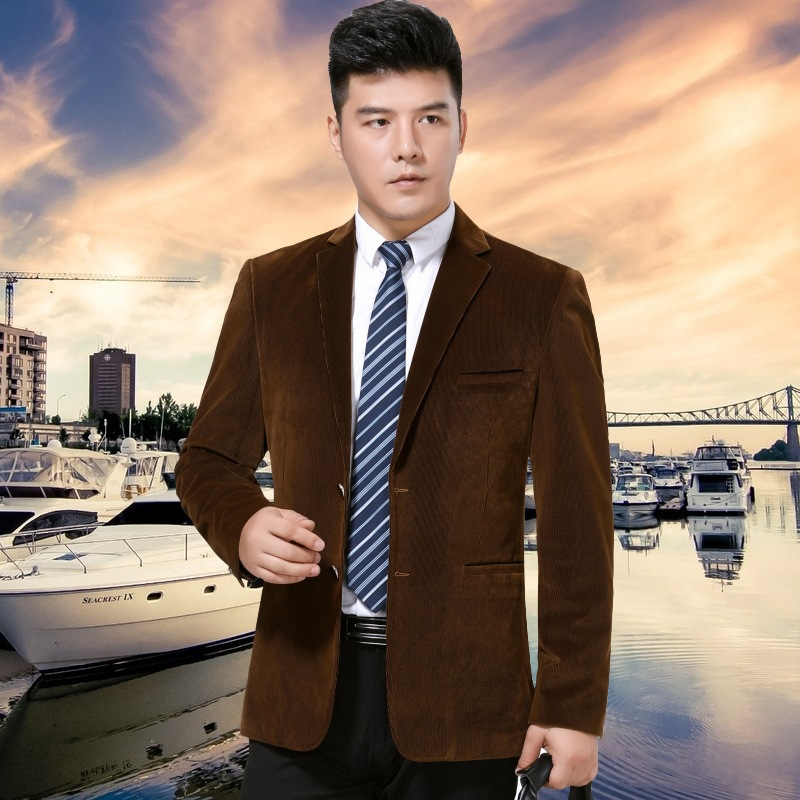 Top selling Ou Anna autumn and winter mens suit fashion leisure middle aged wool single suit Stripe Mens coat Long Sleeve