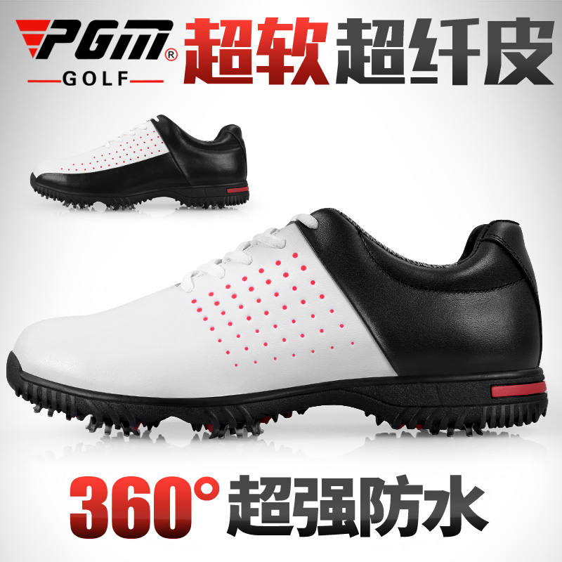 Golf shoes! Waterproof super fiber leather shoes mens breathable shoes non slip eight claw spiked shoes golf shoes PGM