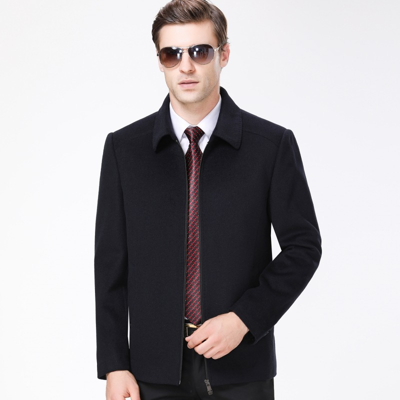 Autumn and winter new brand mens jacket business casual mens coat middle aged mens fathers solid color top