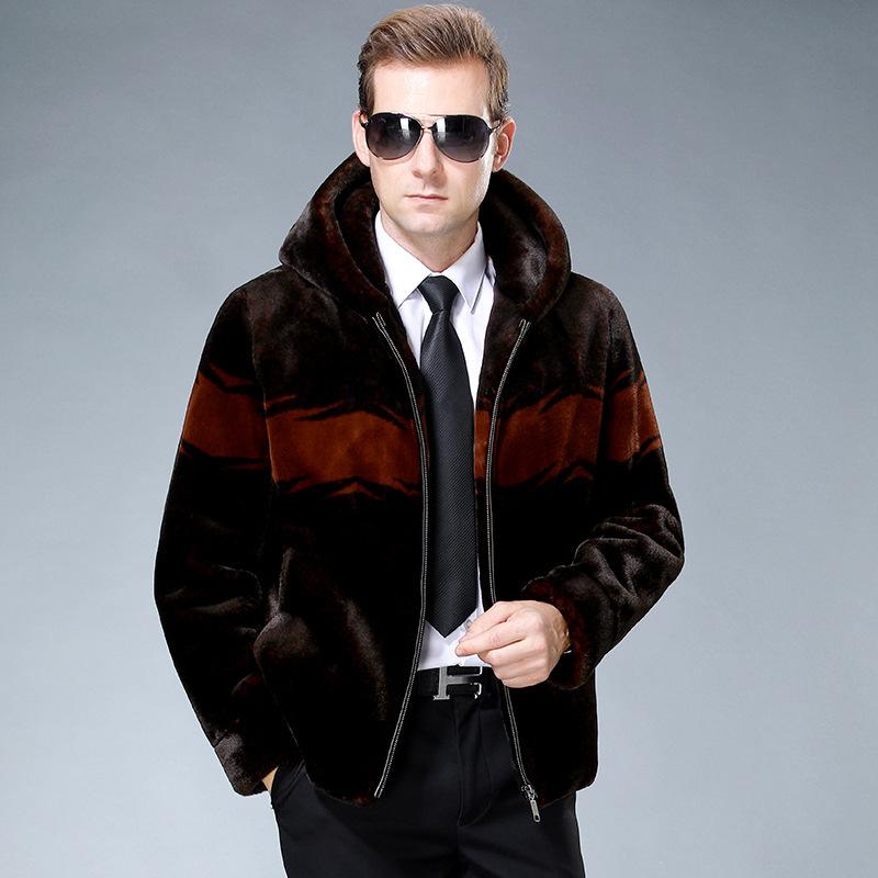 Autumn and winter mens hooded one leather fur coat short fur coat sheep shearing jacket coat imitation leather fur coat
