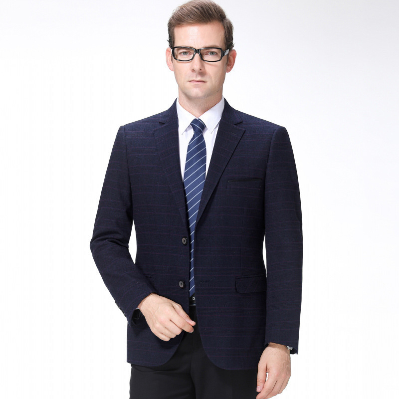 Crazy mens suits autumn and winter fashion leisure middle aged wool single suit Plaid boutique trendy mens coat extra wide