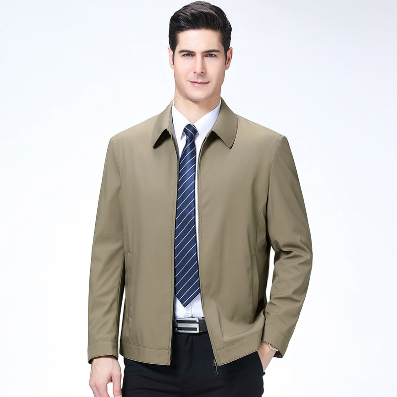 New brand coat mens autumn and winter short casual lapel jacket mens thin middle-aged and elderly top