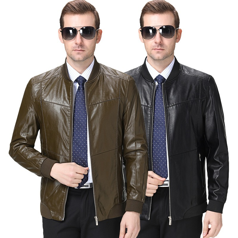Onana brand mens Leather Mens wear middle aged mens business casual leather Italian sheep leather jacket