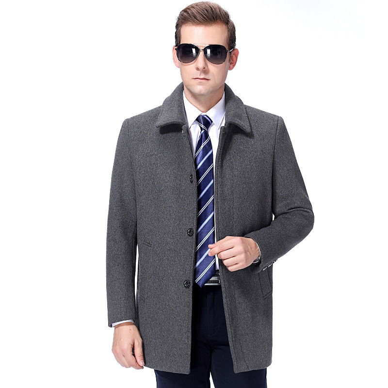 Luxury autumn and winter new business casual coat lapel mens jacket mens middle aged and old wool coat