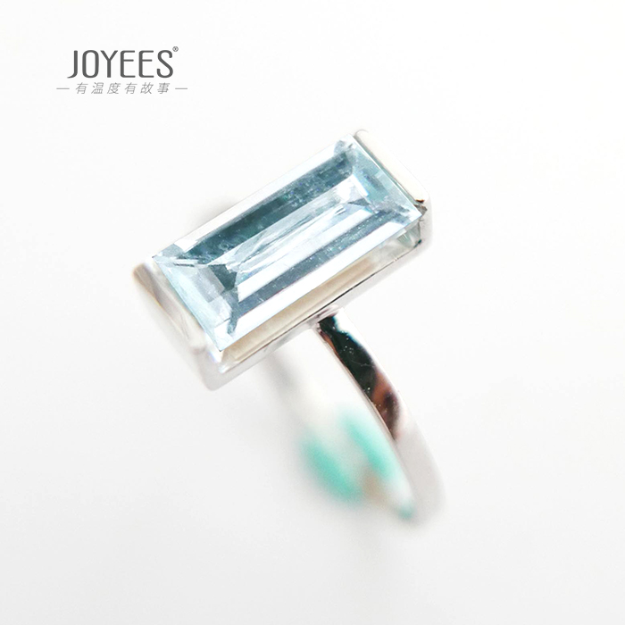 Joyees Yanbo 14k White Gold Aquamarine female ring ring ring simple and versatile original design jewelry
