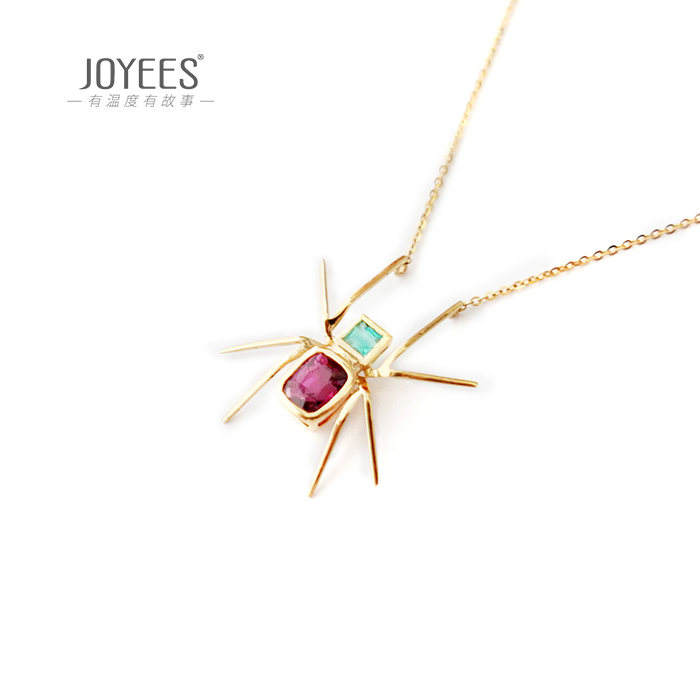 Joyees spider 18K Gold Emerald spinel Pendant Necklace female creative personality design