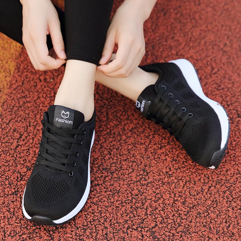 女装波鞋旅游平底新款春季鞋子百搭休闲韩版2019黑色女士运动鞋土