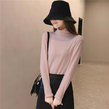 黑色上衣百搭修身 t恤女 羊毛纯棉长袖 春秋冬新款 半高领打底衫 韩版
