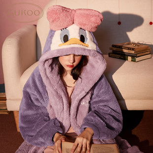 迪士尼睡衣女秋冬珊瑚绒睡衣女长款睡袍法兰绒睡衣女冬季家居服