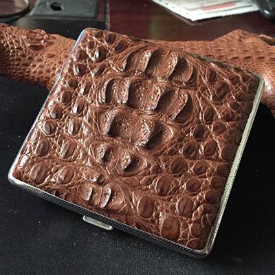 375.00元包邮鳄鱼皮手工泰国超薄商务不锈钢烟盒