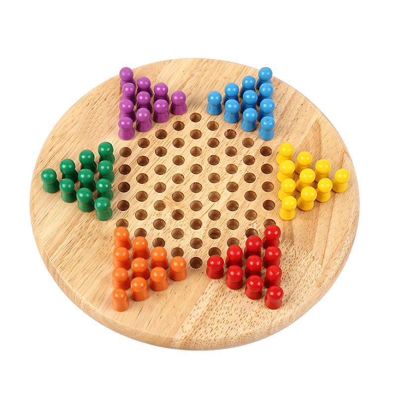 三格田教具跳棋二合一兒童木製質大號跳跳棋類益智力五子棋玩具