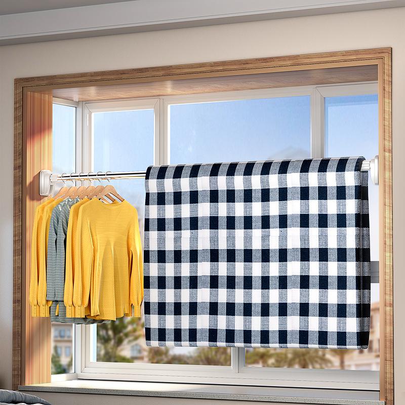 佳帮手免打孔伸缩杆窗帘杆子衣柜晾衣杆浴室卫生间架浴帘杆阳台撑