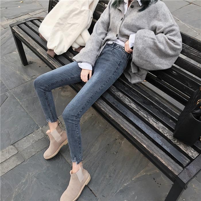 黑色裤子高腰紧身牛仔裤女秋季2019新款韩版修身小脚裤九分裤长裤