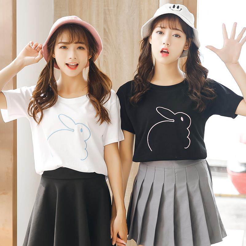 夏季新款女裝寬鬆顯瘦繡花兔子圖案軟妹學生百搭短袖t恤打底上衣