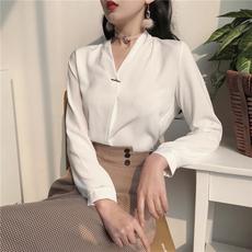 春装新款女装韩版气质纯色V领长袖衬衣雪纺衫简约百搭雪纺衬衫女