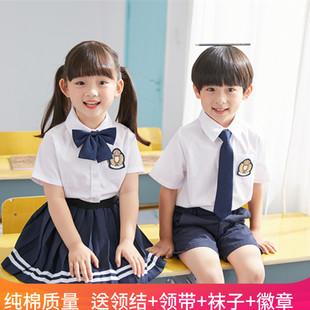 幼儿园园服夏装儿童班服小学生校服套装学院英伦风毕业照演出服装
