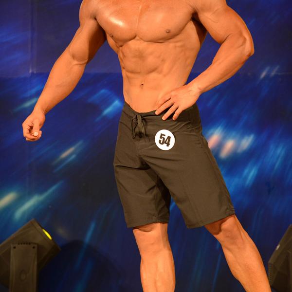 男子健体比赛沙滩裤速干/夏季宽松大码中裤运动短裤/纯黑色预赛裤