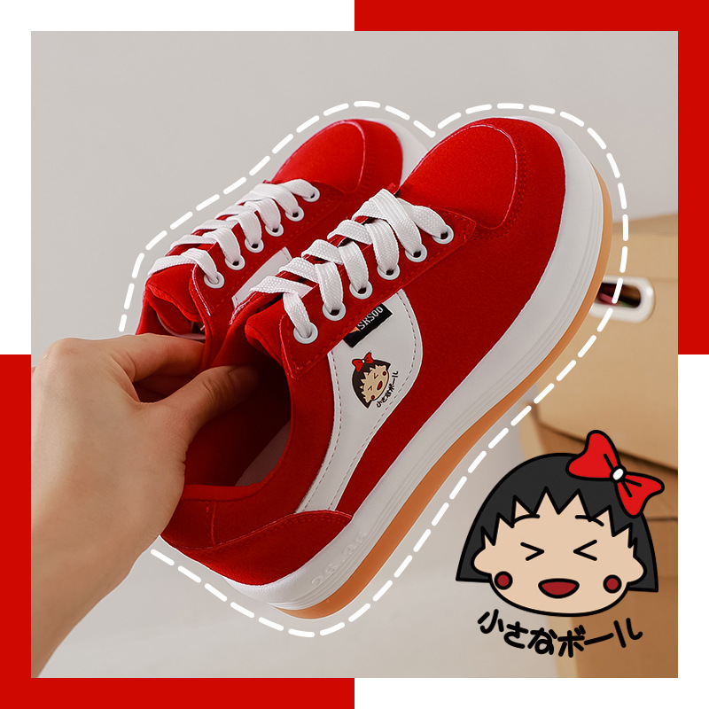 Miaozao 2021 Korean students hand painted cherry small Wan son Lolita bread Shoes New Year red shoes childrens board shoes