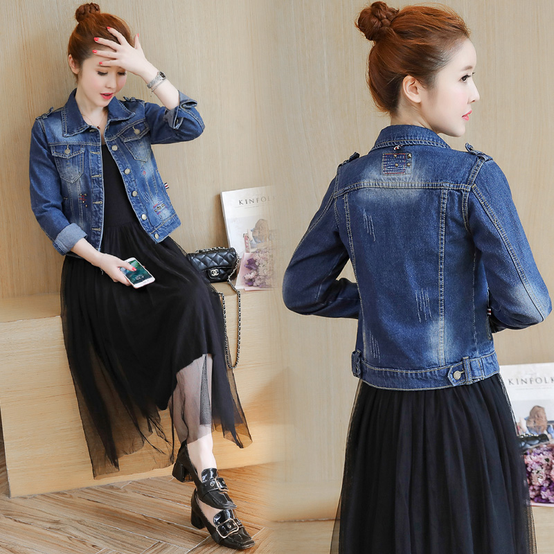 2021 spring and winter new Korean fashion jacket casual thin Denim Jacket Womens thickened versatile top