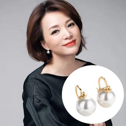 董卿同款女刘涛大珍珠贝珠高级耳环