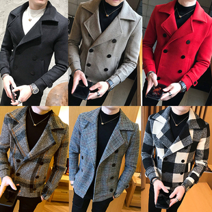 秋冬季格子毛呢大衣男短款韩版修身青年潮流休闲加厚呢子风衣外套