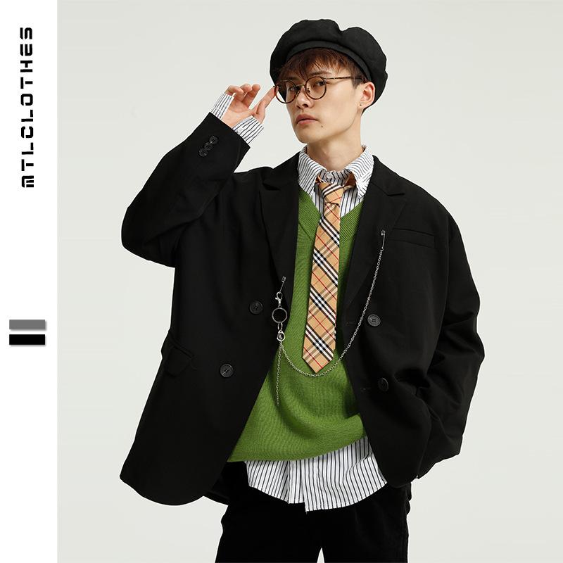 MTL new collar mens clothing Korean dongdamen chain suit mens double row button single suit Hong Kong Style