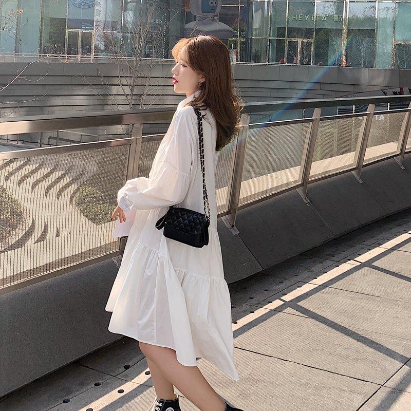 chic纯色长袖单排扣衬衫连衣裙小