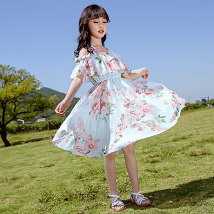 女童連衣裙夏季露肩洋氣公主裙子十歲中大童時髦12女孩雪紡長裙15
