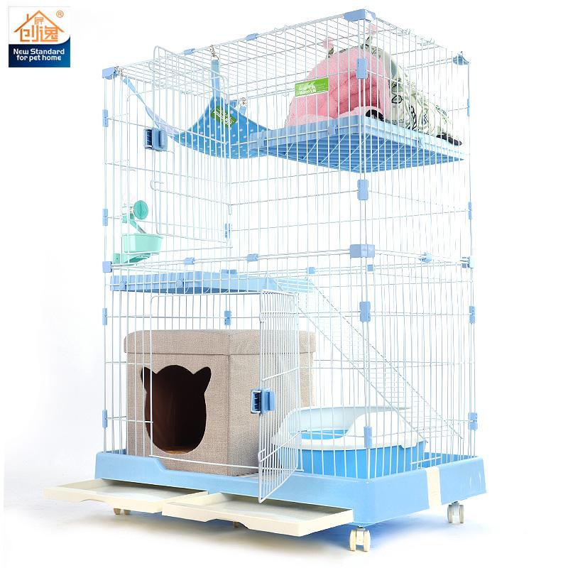 创逸猫笼子猫别墅/猫咪笼子/二层双层三层大号/宠物笼子/猫咪用品