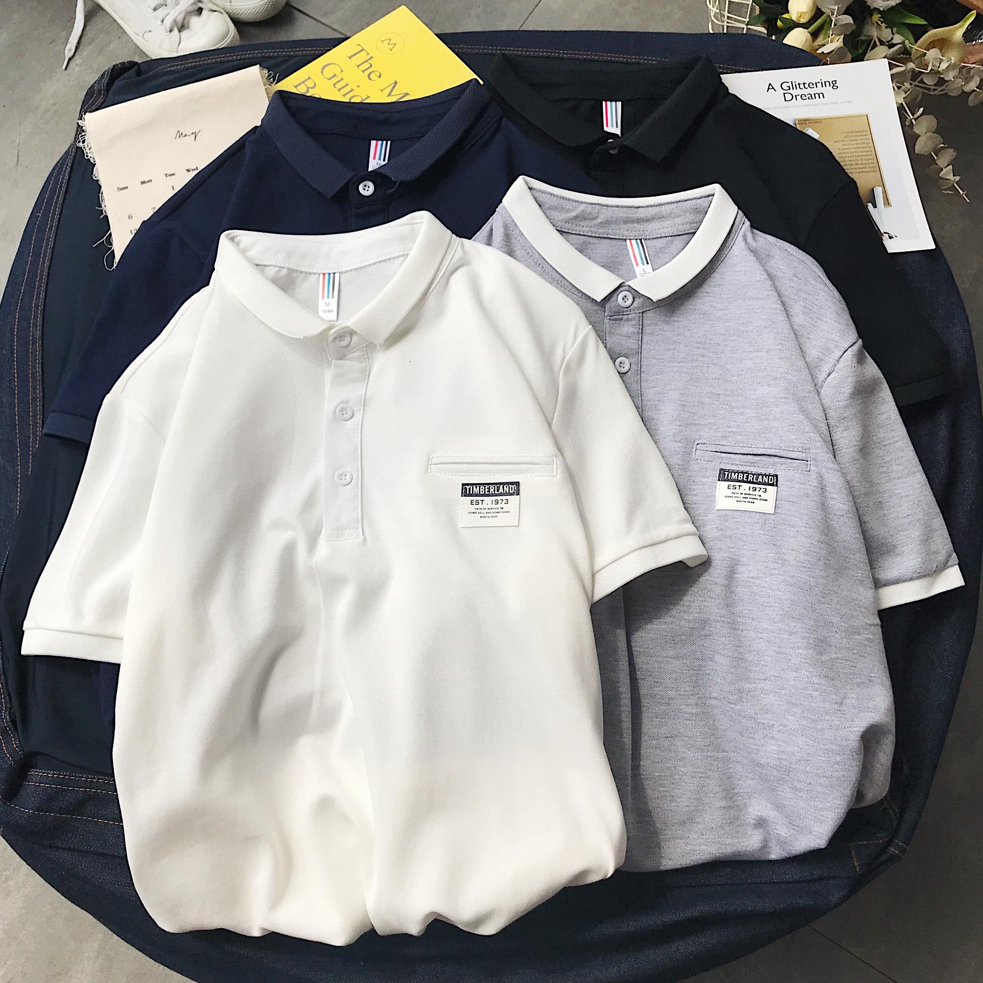 2020夏装新款贴布港风翻领短袖T恤衫polo衫 PL008 p30 5XL加五元