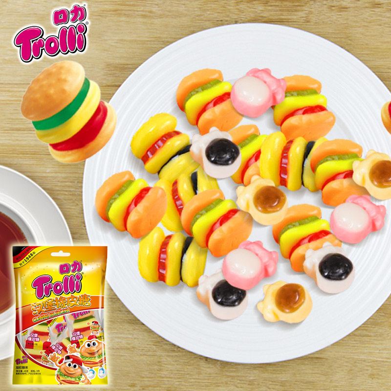 汉堡橡皮糖德国Trolli口力可爱造型糖果软糖童年零食qq果汁糖108g限5000张券