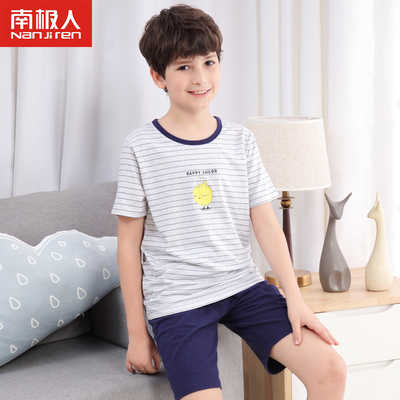 南極人男童短袖家居服套裝夏款短褲純棉兒童薄款睡衣褲中大童T恤