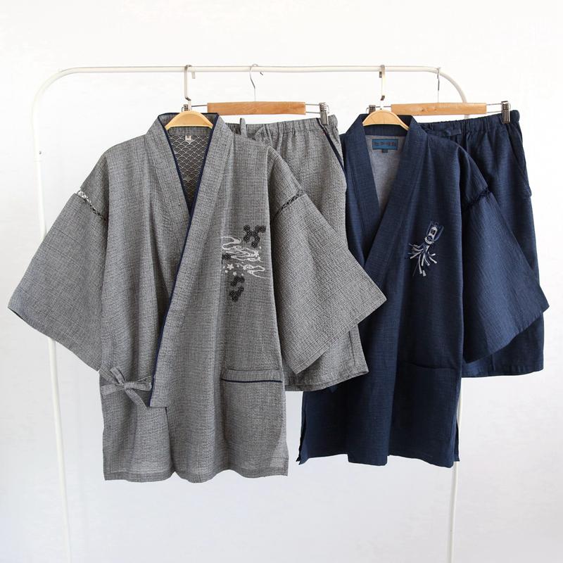 日系高档品和风刺绣男士和服全棉甚平日式短袖短裤加大家居服套装