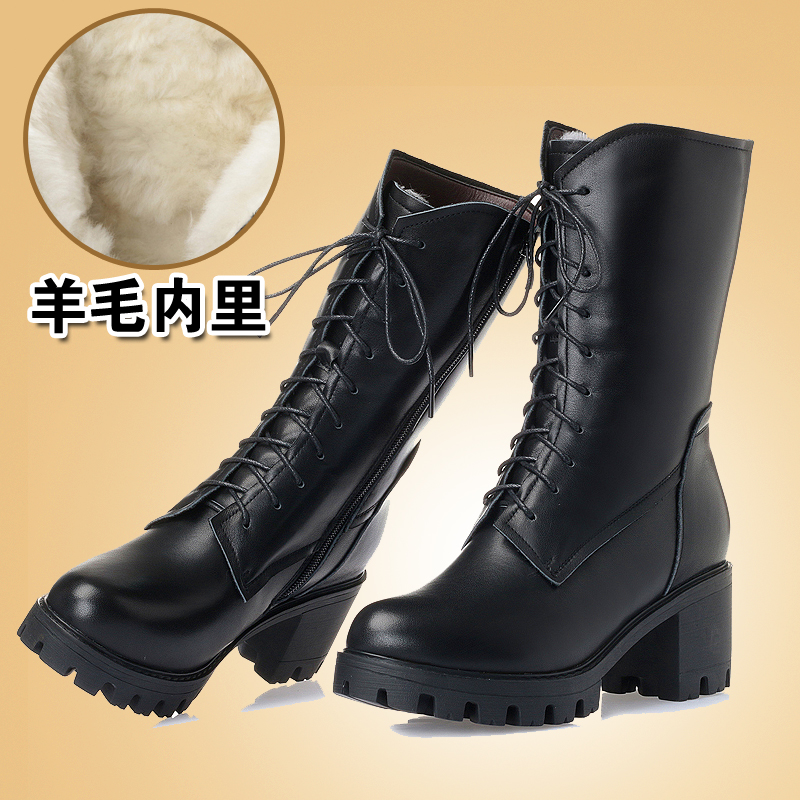 Fall / winter 2020 thick heeled Wool Womens boots leather high heeled Martin boots high heeled long tube versatile Plush thickened cotton shoes