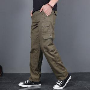 吉普盾纯棉休闲裤男宽松直筒多口袋工装裤男长裤加绒加厚战术裤潮