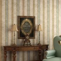 伊然美式鄉村豎條紋復古藍壁紙無紡布臥室客廳電視背景墻墻紙