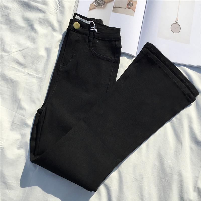 券后49.00元S.P.G酸苹果美衣秋季黑色裤紧身弹力纯色显瘦打底一粒扣微喇叭裤