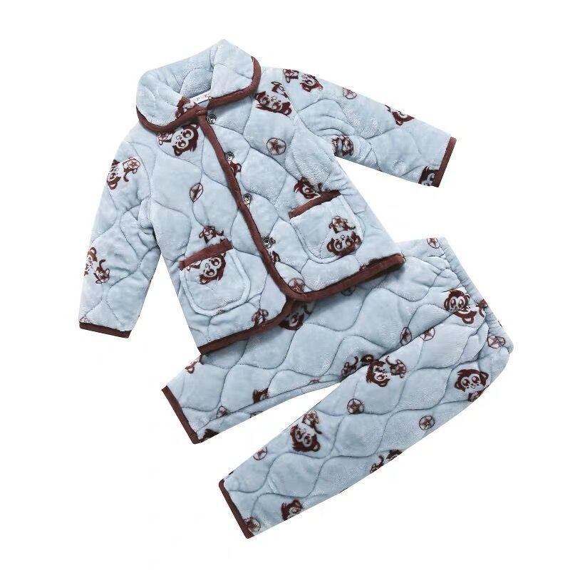 儿童睡衣秋冬季法兰绒小孩家居服珊瑚绒男童女童三层加厚宝宝套装