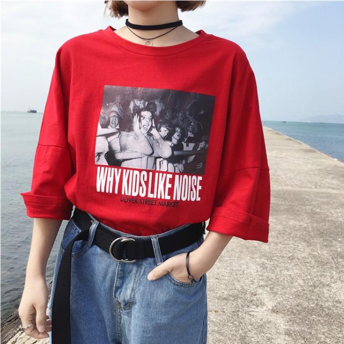夏季新款韓版原宿風人物印花紅色T恤女寬鬆小清新中袖上衣女學生