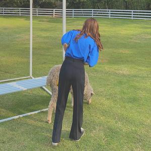 现货侧开叉高阶黑色西裤泡泡袖T恤T01-T恤裤子,女装休闲裤,MAOKA