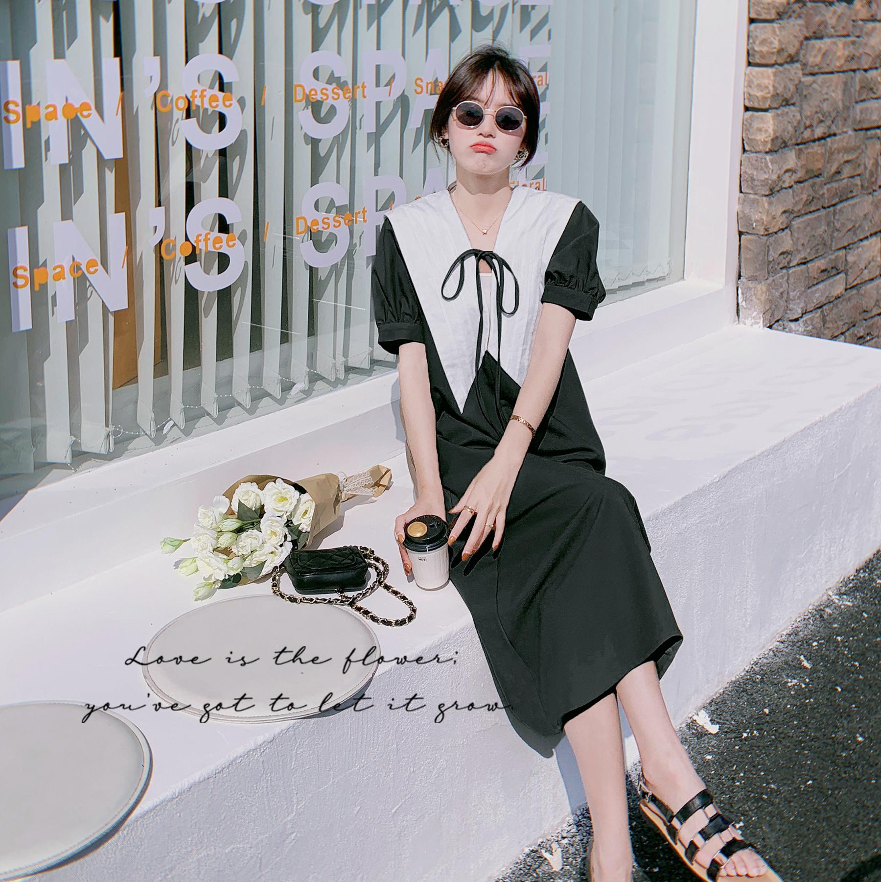 【爆款新增加黑色】前后两面穿泡泡袖大翻领连衣裙828-p105-k168,女装连衣裙,MAOKA
