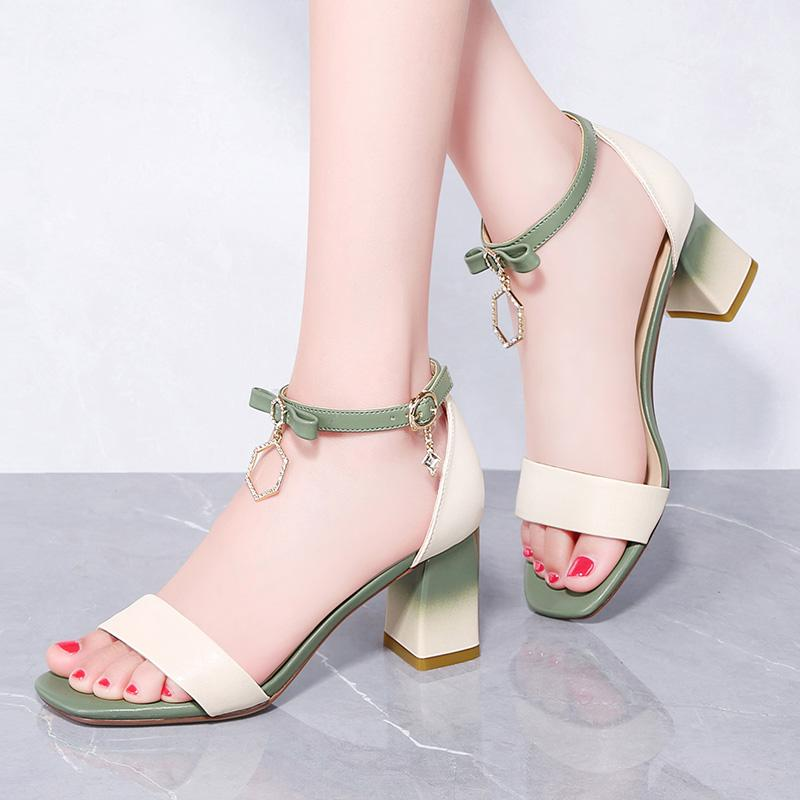 Taiwan Red Dragonfly Enterprise Co., Ltd. Rd sandals womens middle heel thick heel summer 2019 fairy style matching skirt 100