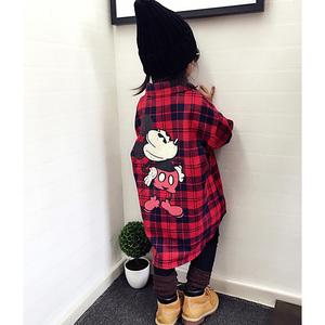亲子装春装新款潮母女装母子韩版长袖卡通格子中长款衬衫外套